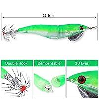 釣りルアー、4.52 '' 5色電気発光バイオニックエビ形イカ塩水釣りルアー(緑)