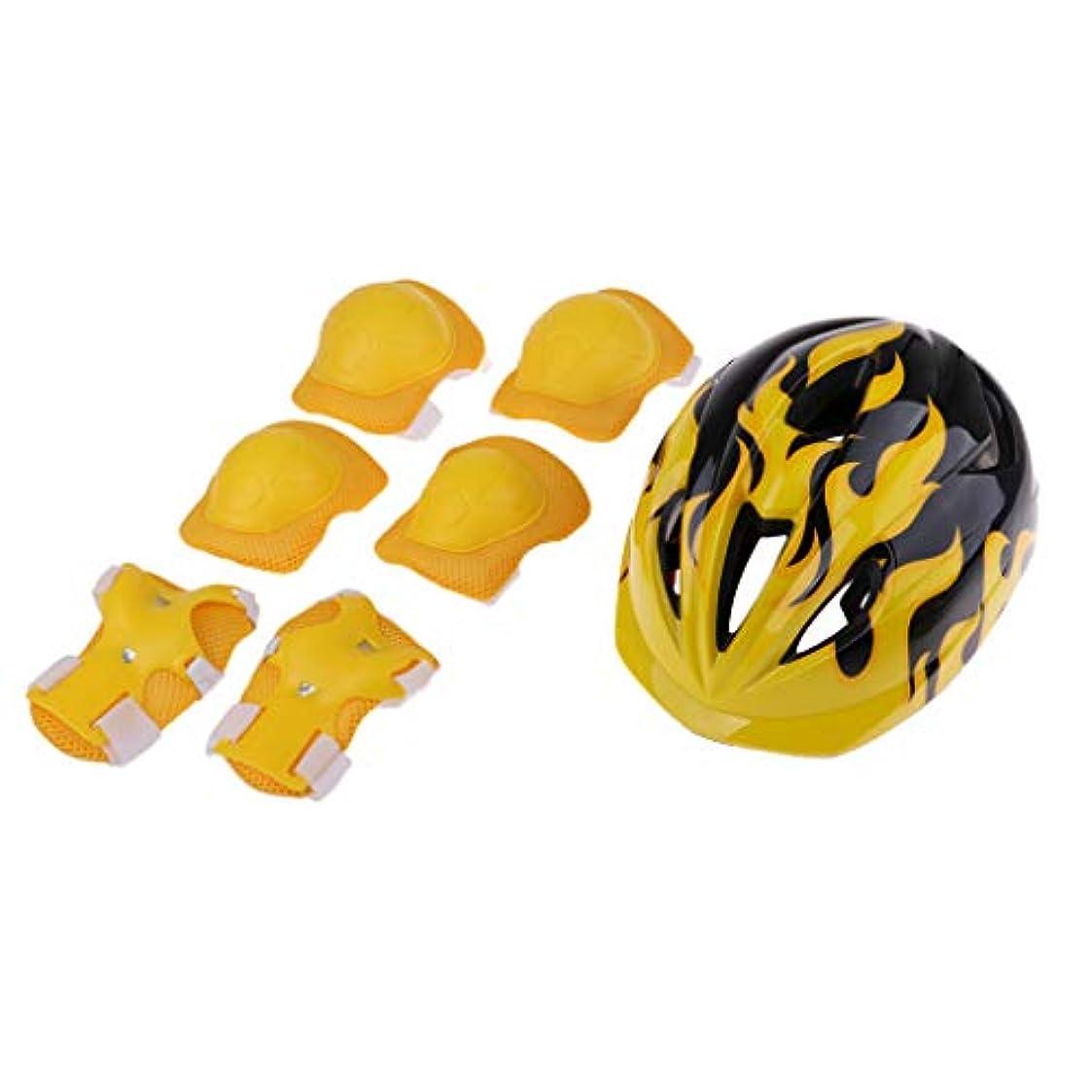 分析的なリズム不安定なFLAMEER 子供 ヘルメット 男女用 肘/膝/手首パッド プロテクター 保護ギア 衝撃軽減 通気性 2サイズ