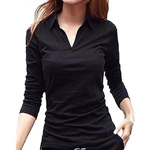 (サコイユ) sakoiyu カットソー Tシャツ レディース 襟付き トップス シャツ 長袖 きやせ 着痩せ 着やせ 着痩 体型カバー スリム ほそみ たいけいかばー 体形カバー カバー ルームウェア ルームウエア 部屋着 へやぎ (M, ブラック)