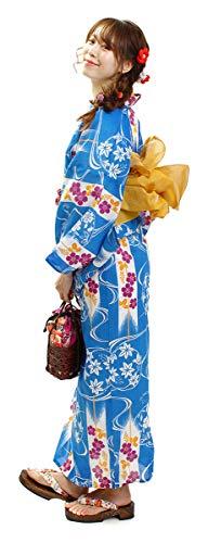 [オオキニ]浴衣セットレトロ浴衣レディース帯下駄3点セット青ブルー撫子流水矢絣紅葉萩【A36】兵児帯:からし