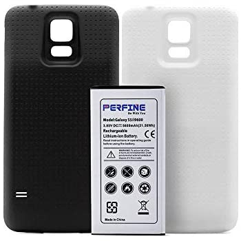 Samsung Galaxy S5 perfineバッテリー[5600mAhn] NFC付き2つの裏表紙(白黒)(180日無料保証)付きのGalaxy S5 I9600用の拡張バッテリー