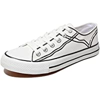 AUCDK Men Casual Canvas Shoes Seasons Low Top Plate Shoes Breathable Laces up Trainers Comfy Outdoor Sneakers