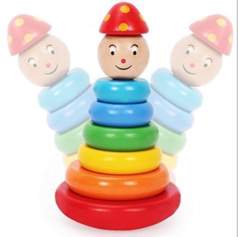 木製Rainbow StackerタンブラーStacking Ring Puppetタワーby wobatoy