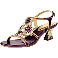 Honeystore Women's Flower Rhinestones Louis Heel Sandals Shoes Wedding