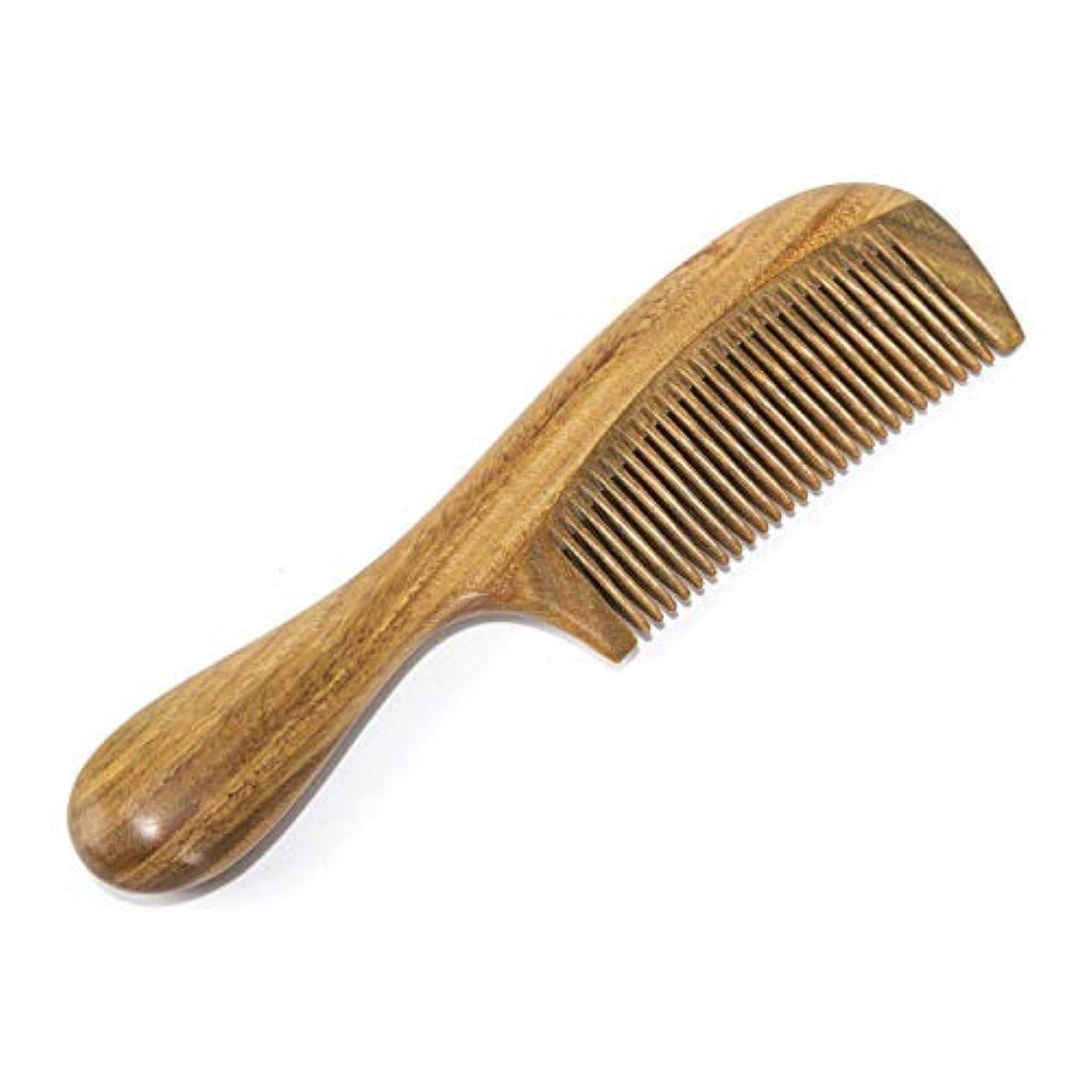 外出統計あざBEINY Natural Green Sandalwood Comb - Anti Static Wooden Hair Comb with Thickening Round Handle for Hair Health...