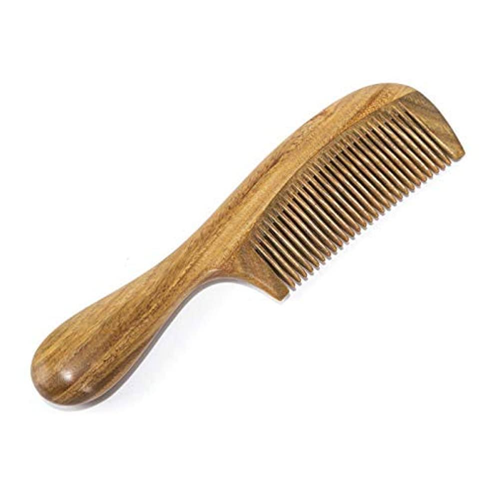 腰彼の狂乱BEINY Natural Green Sandalwood Comb - Anti Static Wooden Hair Comb with Thickening Round Handle for Hair Health...
