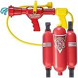 AsToy 消防士 コスプレ 水鉄砲 背負える リュック バックパック 子供 プール 水遊び おもちゃ 強力 ウオーターガン