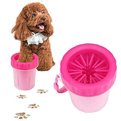 AKARUI 足洗い 犬 ブラシカップ ペット足洗いボトル 足用クリーナー 犬の散歩便利グッズ 愛犬のしつけに 小-中型 S-M (ピンク)