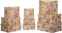 ブランデーセラーギフトボックス収納ボックスカードボックスふた付き - 丈夫なボール紙ローズヴィンテージルック - 下降サイズ、ボール紙、花、37,5 cm x 29 cm x 16 cmビス19 cm x 13 cm x 7,5 cm