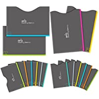 Aerb RFID Blocking Sleeves, Set of 16 (12 Credit Card Holders & 4 Passport Protectors) for Identity Theft Protection, Perfectly Fits Wallet/Purse-Grey