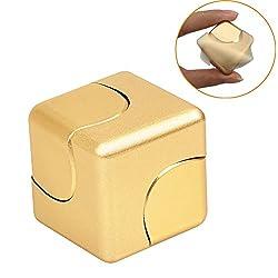 GearUnion 最新版 ハンドスピナー 指スピナー アルミ製 cube spinner キューブ ブロック 指先独楽 ウィジェット フォーカス玩具 高速ベアリング 指先ジャイロ Fidget Spinner hand Spinner Toy ストレス解消 耐久性&高速度(ゴールド)