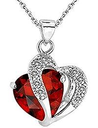 925純銀製のファッションキュービックジルコニア宝石のハート形のペンダントネックレス (レッド)