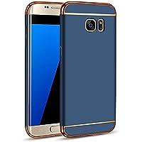 s7 edge ケース Galaxy S7 edge ケース (SC-02H・SCV33) Galaxy S7 edge カバー 【iCoverCase】保護カバー 3in1 高級金属感 PC素材 超薄型 落下防止 衝撃吸収バンパー スリム 高品質【選べる6色】ネイビー