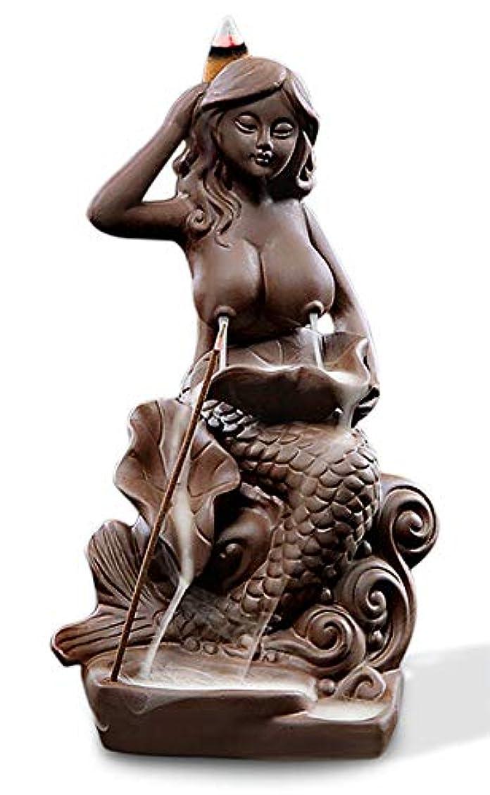 救急車静的シャット(Style9) - OTOFY Mermaid Ceramic Incense Holder Backflow Incense Burner with 10 Incense Cones Artwork Home Decor...