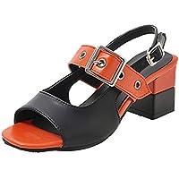 TAOFFEN Women Fashion Block Mid Heel Sandals