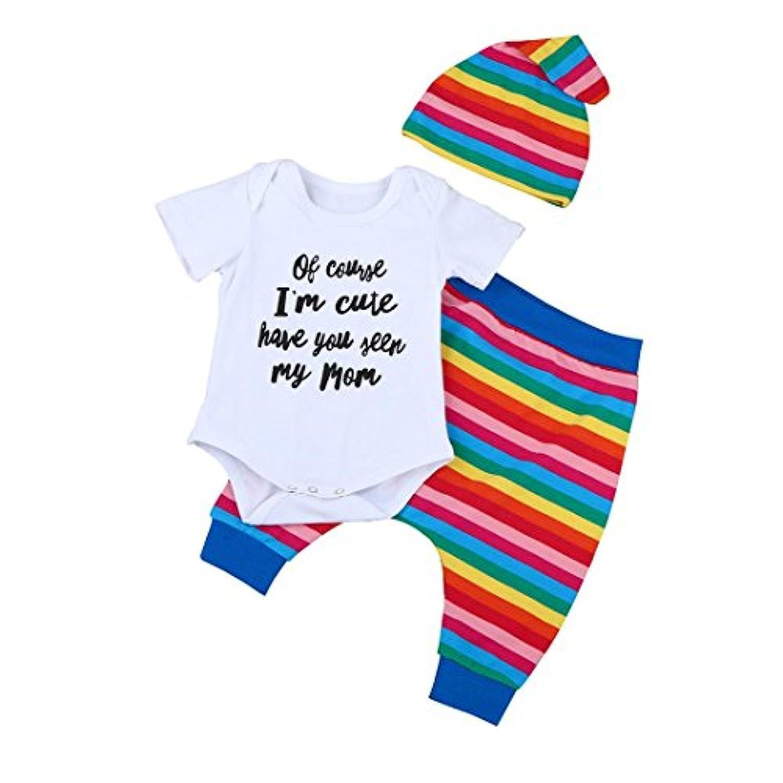 おもしろい 英語文字 3点セット(ロンパース+スカート+帽子) かわいい ベビー服 女の子 赤ちゃん服 幼児 子供服 女の子 半袖 4サイズ 丸首 ロンパース カバーオール 満月/出産祝い/プレゼント 70CM-80CM-90CM-100CM(0ヶ月-24ヶ月) (100CM/18-24ヶ月, 写真のように)