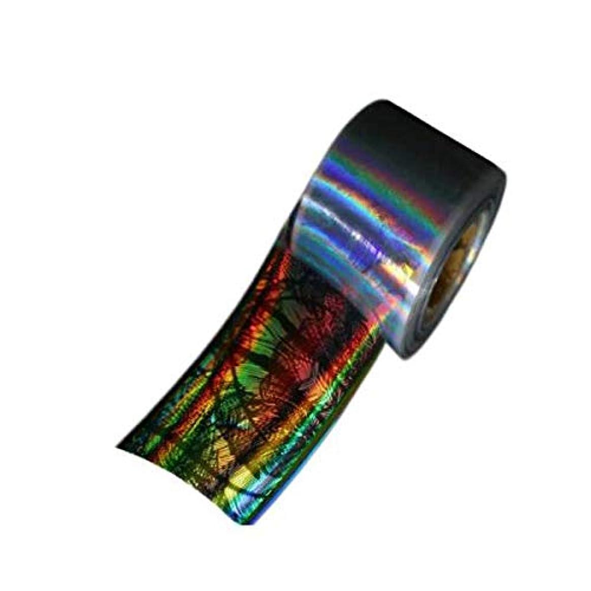クラシカル微生物学習者SUKTI&XIAO ネイルステッカー 4Cm * 100M 1ロールネイルフォイルレーザーホログラフィックブラックフラワーネイルフィルムフルカバーネイルステッカー転写フォイルデカール、ダークグレー