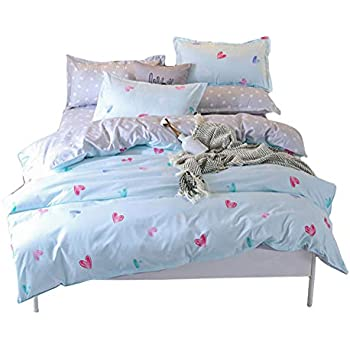 BeddingWish 布団カバー4点セット 寝具用品 通気性 ダグル ボックスケース式 ベッド用 掛け布団カバーとボックスケースと枕カバー*2 (ダブル 190x210cm)XQ-ST