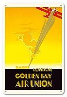 22cm x 30cmヴィンテージハワイアンティンサイン - ロンドンパリ - ゴールデン線 - 航空連合、フランスの航空会社 - ビンテージな航空会社のポスター によって作成された エドモンド・マウルス c.1929