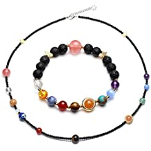 CrystalTears Unisex Solar System Bracelets Necklace Set Reiki Healing Crystal Glass Facted Beads Lava Stone Diffuser Bracelet Essential Oil Aromatherapy Jewelry