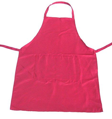 シンプル カラー 無地 エプロン 前 ポケット 保育園 保育士 冠婚葬祭 食事用 撥水 防汚 女性 男性 兼用 (ピンク)