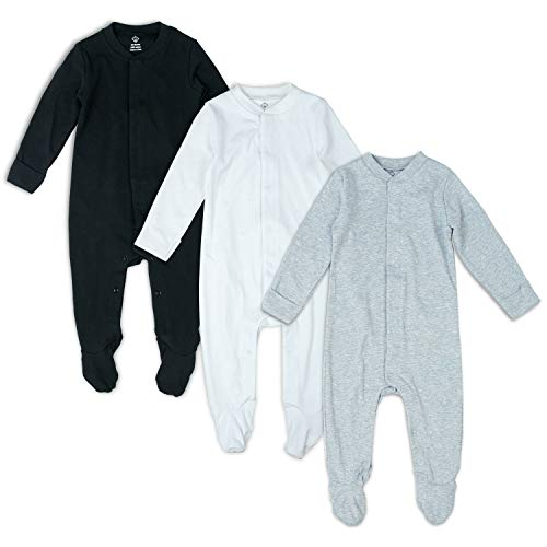 630c9ccd3eb66 ロンパース ベビー服 カバーオール 足つき 赤ちゃん 肌着 長袖 前開き 男の子 秋冬 3枚セット (9