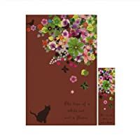 ブックカバー コミック判 コミック 撥水機能 しおり付き 1878黒猫と花の木 ブラウン
