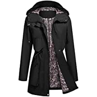 Kikibell Women's Raincoat Active Hooded Waterproof Lightweight Jackets with Lined Outdoor Travel Trench Coats
