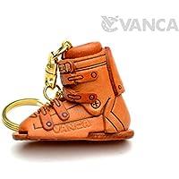スキー靴 本革製 立体キーホルダー VANCA CRAFT 革物語 (日本製 ハンドメイド)