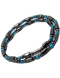 [ZIG's] [45・50・55cm] お洒落 魅惑の輝き 磁気ネックレス ヘマタイト×ターコイズ アンクレット,ブレス可 (tc03-la) (55)