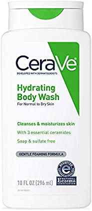 CeraVe Hydrating Body Wash for Daily Body Washing, Dry to Normal Skin, 10 oz