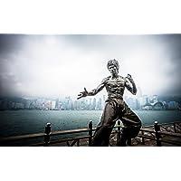 絵画風 壁紙ポスター (はがせるシール式) ブルース・リー モニュメント ハート 香港 燃えよドラゴン キャラクロ BLEE-002W1 (ワイド版 921mm×576mm) 建築用壁紙+耐候性塗料