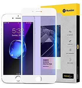 【Humixx】 iPhone8 ガラスフィルム iPhone7 ガラスフィルム [ ブルーライトカット 目の疲れ軽減 ] [ 9H硬度 0.3mm薄さ ] [ フルカバー 気泡防止 ] ( iPhone 8 iPhone 7 )( ホワイト )