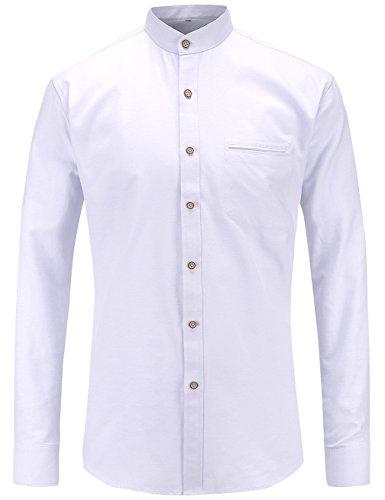 JEETOOオックスフォード バンドカラーシャツ メンズ 長袖 スタンドカラーシャツ ビジネスシャツ 無地 カジュアルシャツ(White,L)