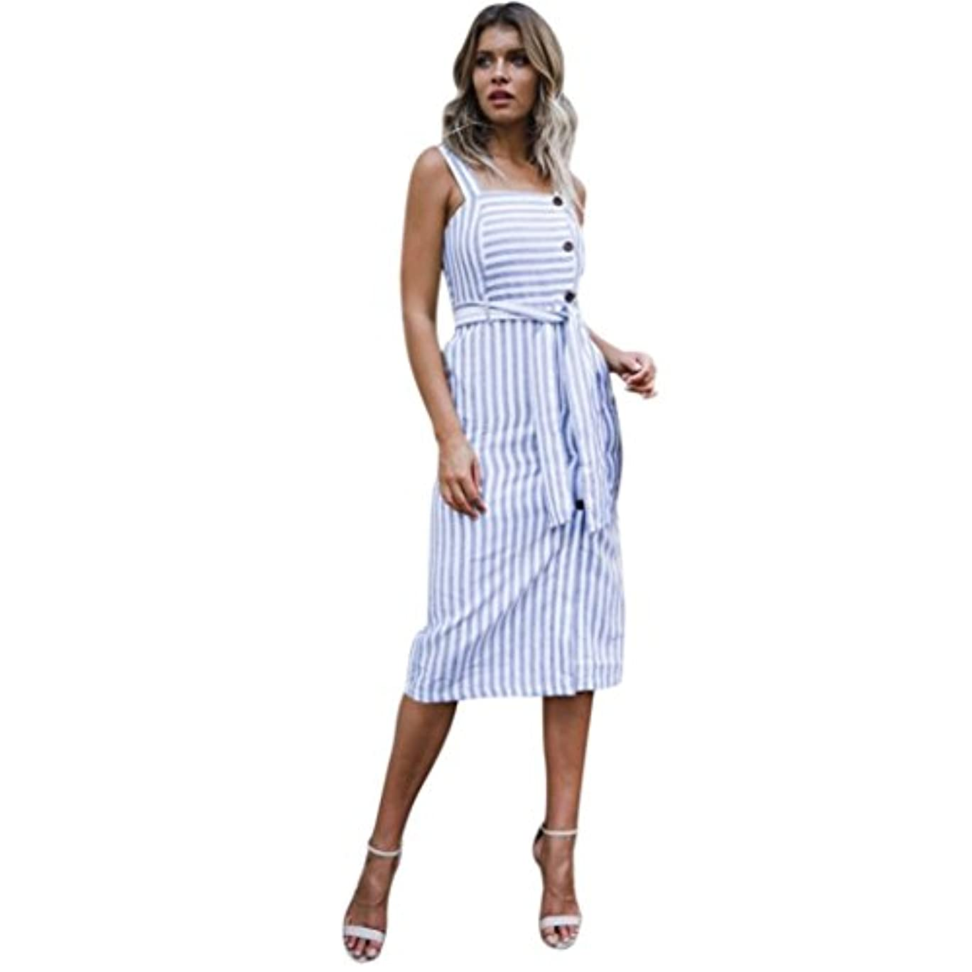 心のこもったラフ睡眠満了SakuraBest Womens Summer Striped Button Down Dress,Shoulder Strap Knee-Length Dress for Girls (M)