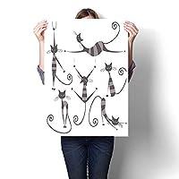 キャンバスウォールアート 寝室 ホームデコレーション 手描き スケッチキャット ハッピーフェイス ジェスチャー コミック クリーチャー ファニーアートプリント ペイント ホームデコレーション フレームなし(フレームなし) 16 x 28inch(40x70cm)/1pc