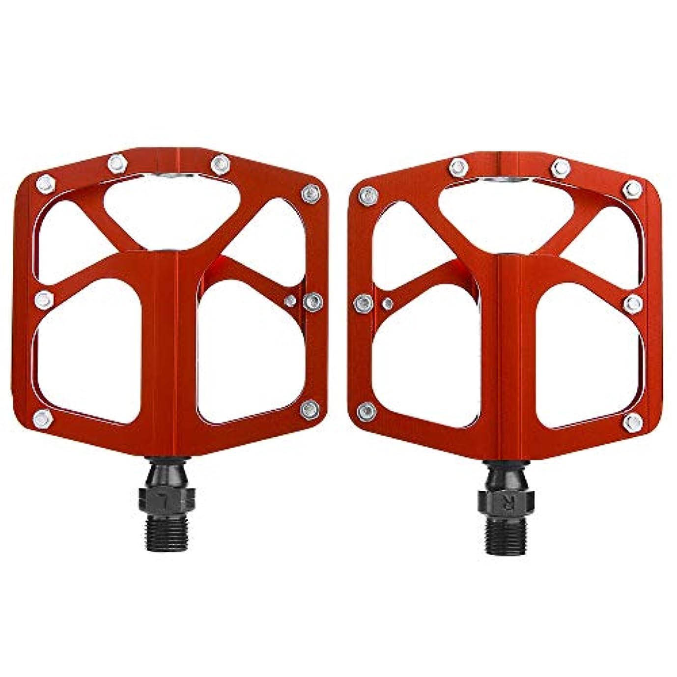 製造下品徹底的にRakuby 軽量 バイクペダル 合金 プラットフォームペダル 4ベアリング MTBロード バイク サイクリングペダル Cr-Mo スチール アクスル