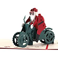 (デマ―クト)De.Markt クリスマスカード サンタクローズ オートバイ 立体 メッセージカード 祝いカード 2つ折り バレンタイン 3Dカード 封筒付き 中空彫刻 可愛い 創造的 人気