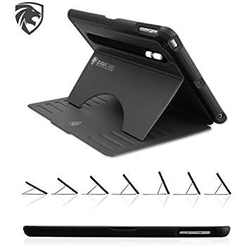 ZUGU CASE - iPad 9.7 (2018/2017) 第5/第6世代、iPad Air ケース Prodigy X 落下衝撃保護 極薄 7段階スタンド機能 オートスリープ スマートカバー (ブラック)
