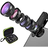 Keriya Sende 電話カムレンズキット、120°広角/ 15倍マクロ/ CPL/スターフィルター/ 210°魚眼レンズ/ 2倍望遠レンズ、スマートフォン用 スマホレンズ