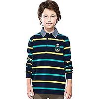 LEO&LILY Boys' Long Sleeves Striped Cardigan Rugby Polo Shirt LLB3B08