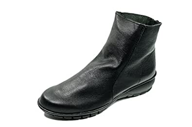 [ユリコマツモト] ショートブーツ 本革 日本製 軽量底 (M 23cm-23.5cm), 黒)