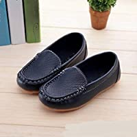 Children Shoes PU Leather Soft Comfortable Loafers Slip Kids Shoes, Size:28(White) Children Shoes (Color : Dark Blue)