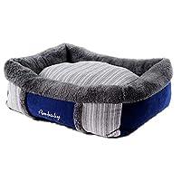 ShiMin ペットはストライプステッチぬいぐるみの犬暖かく、快適なペットの巣の犬のケンネルベッドを供給 (Size : S)