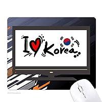 私は韓国語の旗のイラストの愛の愛の心 ノンスリップラバーマウスパッドはコンピュータゲームのオフィス