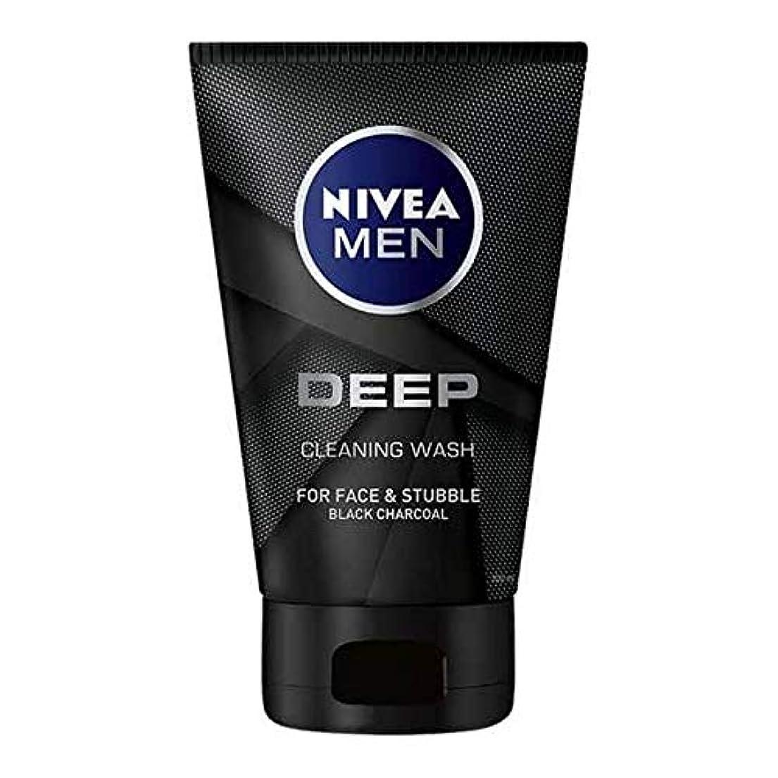 スポンジ折るブッシュ[Nivea] 男性の深い顔ウォッシュ100ミリリットル用ニベア - NIVEA For Men Deep Face Wash 100ml [並行輸入品]