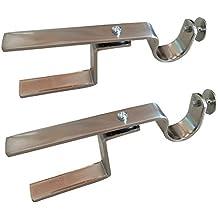 NONO Bracket XL - Inside Mounted Faux Wood Blinds Curtain Rod Bracket Attachment (Nickel)