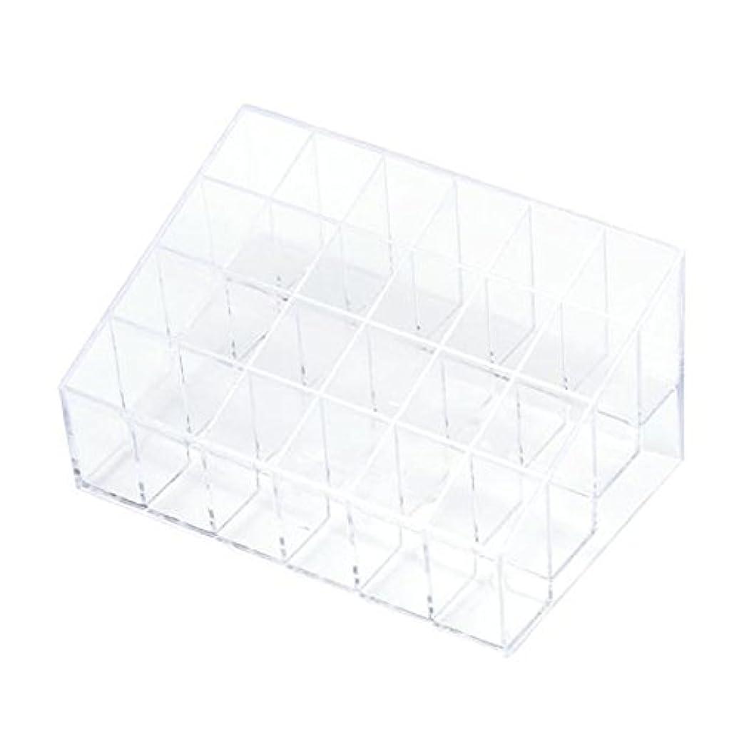 スイ言語学湾YOKINO 口红收纳盒 メイクアップ 化粧品収納ボックス 白い透明な 宝石箱口紅ストレージスタンドホルダー 生活用品 便利 プラスチック製 24グリッド