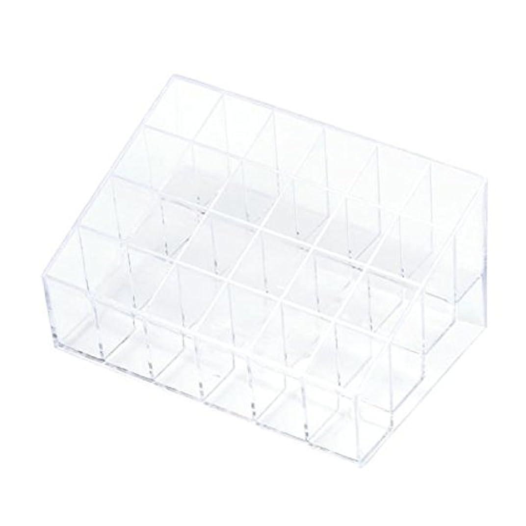 緊急皮肉チューリップYOKINO 口红收纳盒 メイクアップ 化粧品収納ボックス 白い透明な 宝石箱口紅ストレージスタンドホルダー 生活用品 便利 プラスチック製 24グリッド