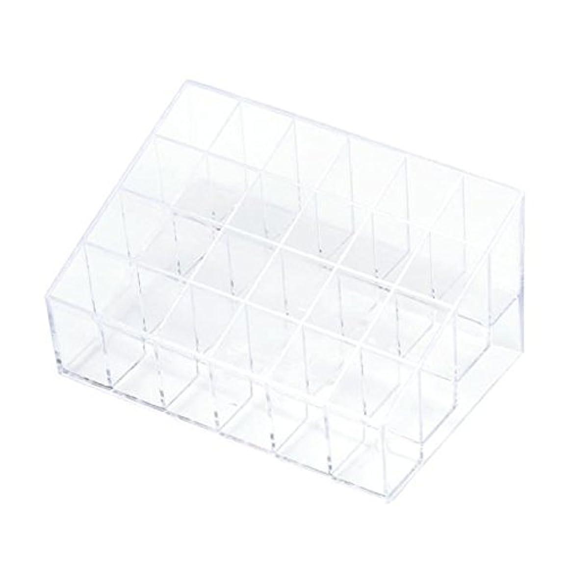 清めるジェットけん引YOKINO 口红收纳盒 メイクアップ 化粧品収納ボックス 白い透明な 宝石箱口紅ストレージスタンドホルダー 生活用品 便利 プラスチック製 24グリッド